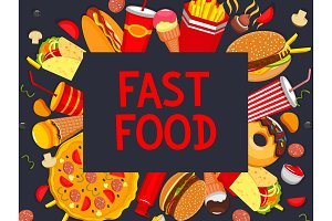 Vector fastfood meaks and snacks poster menu