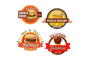 Vector fast food burgers ice cream icons
