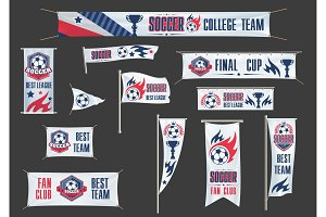 Vector advertising banners soccer championship