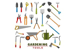 Vector isolated icons of farm gardening tools