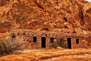 View of Rock Cabin in Desert