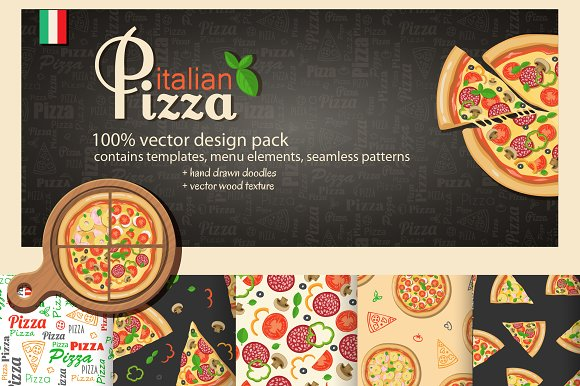 Pizza detailed vector collection