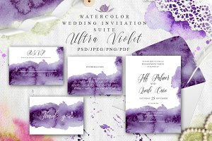 Ultra Violet Watercolor Wedding card
