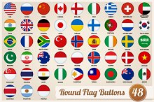 Set of round flags buttons