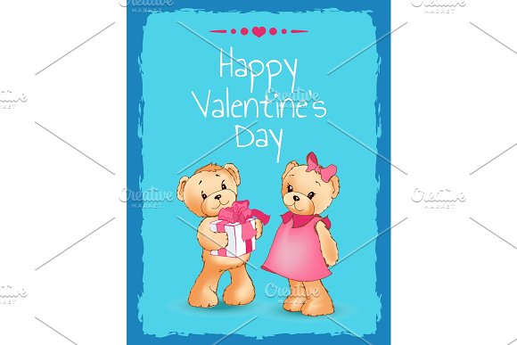Happy Valentines Day Poster With Two Teddy Bears