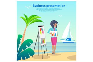 Business Presentation Woman Vector Illustration