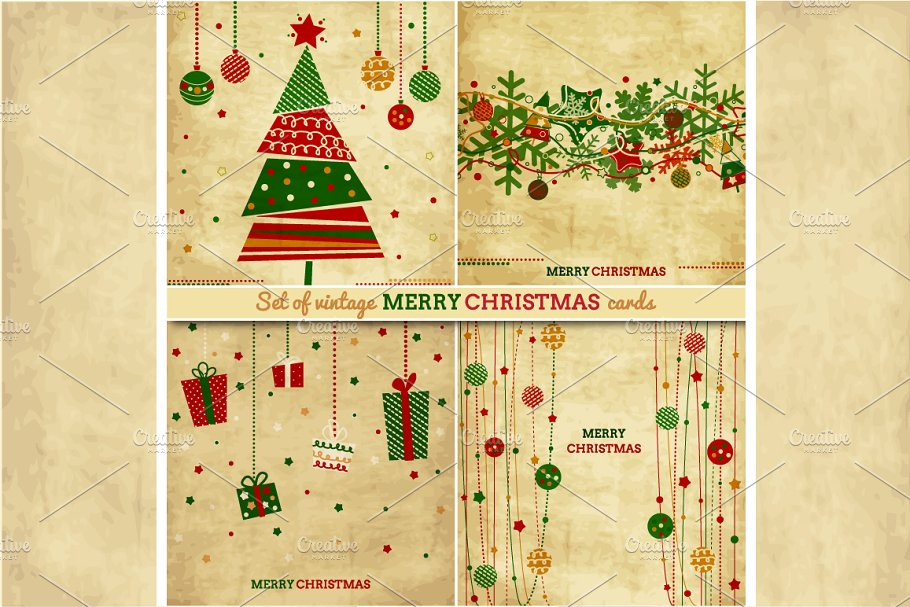 Vintage Set Of Christmas Cards Illustrations Creative Market