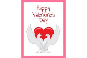 Happy Valentines Day Poster Two Doves Rising Wings