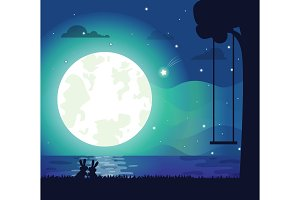 Moon and River Silhouette Vector Illustration
