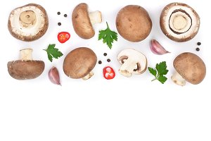 Fresh champignon mushrooms with parsley isolated on white background with copy space for your text. Top view