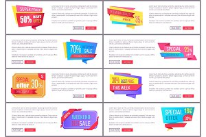 Set Sale Special Offer Order Now Web Poster Vector