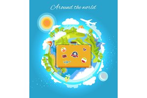Around the World Color Card Vector Illustration