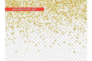 Gold sequins texture isolated with transparent background