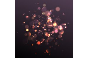 Light effect gold bokeh, abstract night background