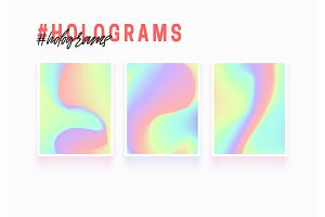 Holographic texture backgrounds. Modern abstract hologram pattern, colorful fluid paint design.