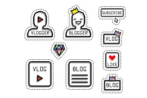 Sticker style pixel art. social icons, silhouette of man, vip with crown golden, buttons blog.