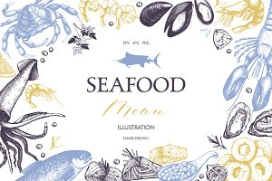 Vintage Seafood Sketch Collection
