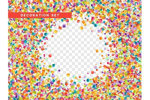 Colorful confetti isolated with transparent background.