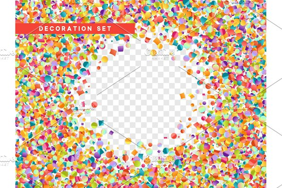 Colorful Confetti Isolated With Transparent Background