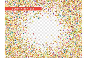 Colorful confetti and gold sequins isolated with transparent background.