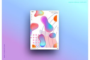 Modern abstract pattern, colorful fluid paint design.