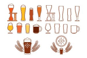 Beer and glasses logos and icons