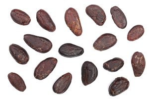 cocoa bean isolated on white background top view. Flat lay