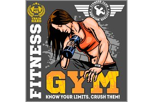 fitness muscle girl with dumbbells, vector illustration