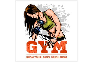 Fitness club and gym label. Athletic woman with dumbbells.