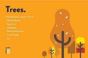 Flat Trees Illustration