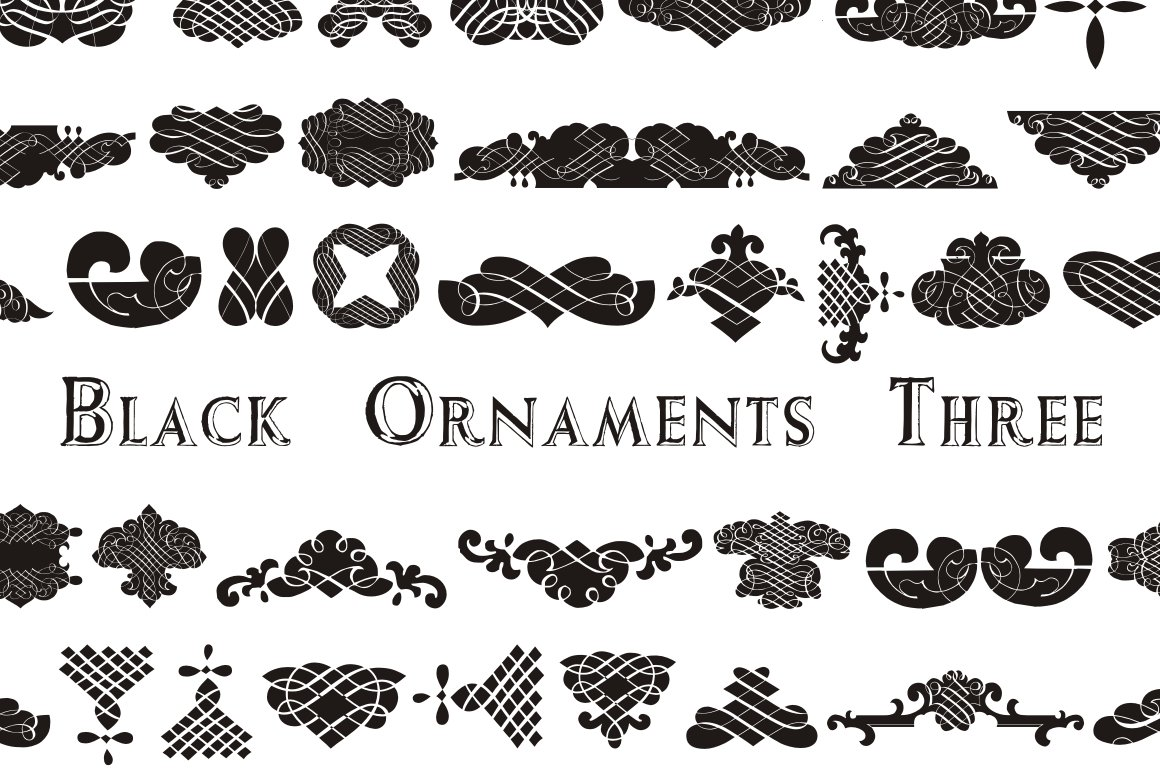Black Ornaments Three Symbol Fonts Creative Market