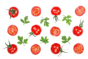 Cherry small tomatoes with parsley leaves isolated on white background. Set or collection. Top view. Flat lay