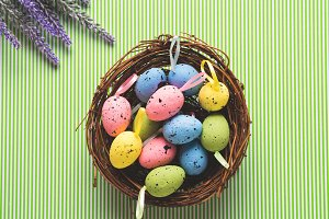 Basket of decorative Easter eggs on