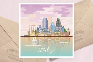 Turkey vector travel poster