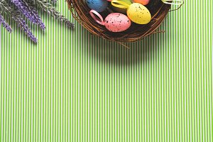 Easter background with Basket of dec