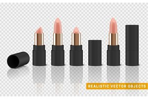 Beige isolated set lipstick with transparent background