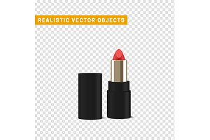 Red isolated lipstick with a transparent background