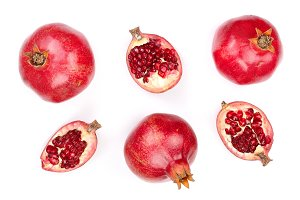 pomegranate isolated on white background. Top view. Flat lay pattern