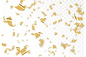 Falling shiny golden confetti isolated on transparent background.