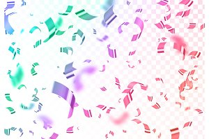 Falling shiny colorful confetti isolated on transparent background