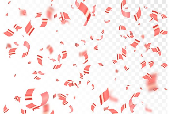 Falling shiny red confetti isolated…