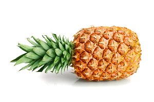 one ripe pineapple isolated on white background