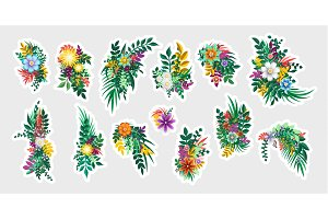 Sticker floral bouquet design. Flowers branches elements isolated