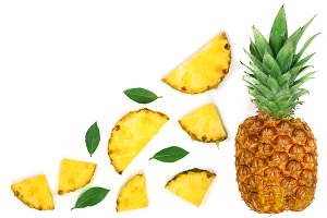 Sliced pineapple isolated on white background with copy space for your text. Top view