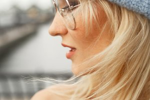 Profile of stunning blonde woman