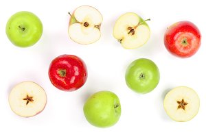 red and green apples with slices isolated on white background top view. Flat lay pattern