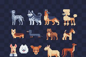 Dogs. Pixel art icons