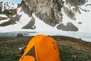 Camping tent in rocky mountains