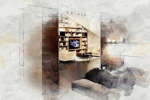 interior sketch of living room