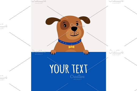Greeting Card With Happy Cute Dog